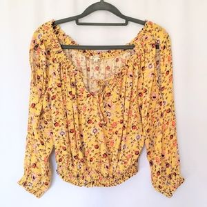 LILY WHITE Yellow Floral Cold Shoulder Crop Top